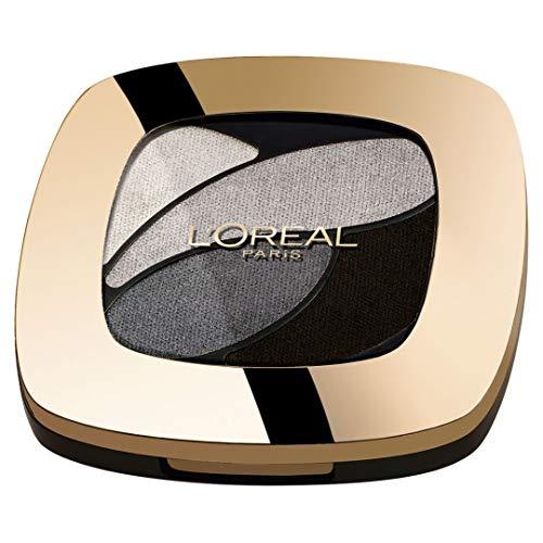 L'Oréal Paris Color Riche Quads Eyeshadow, E5 Velours Noir - Lidschatten Palette für ein intensives, sinnliches Farbergebnis - 1er Pack (1 x 2,5g) - Smoky Eye Pinsel