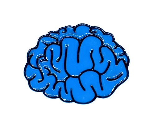 Miniblings Gehirn Brosche Anstecknadel Hirn blau Anatomie Mensch Kopf Denken IQ Comic Brain