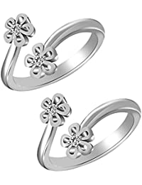Jewels Exotic Bypass Flower Style Toe Rings For Women 0.02 CT White CZ 925 Silver 14K White Gold Fn