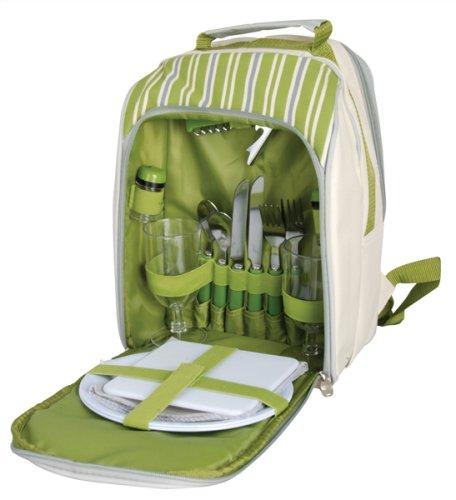 Picknick- Rucksack für 2 Personen mit integrierten Kühlfach, in grün/weiß mit Streifen, 26x15x34 cm