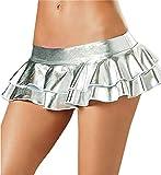 Flydo Donne Sexy Lingerie Mini Gonna Clubwear Lucido Ruffle Skirt Gonna a Pieghe Bagnato Sguardo Sexy Mini Sottoveste per Clubwear Partito