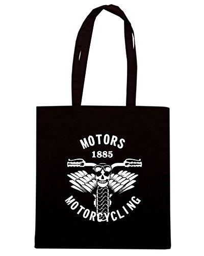 T-Shirtshock - Borsa Shopping TB0254 emblem motorcycle steam punk 66 Nero