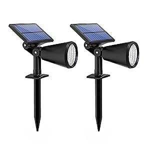 Litom Solar Gartenleuchte, 2-in-1 upgraded Solar LED Wandleuchte/Gartenleuchte mit einstellbaren Solarpanel, 2 Stufe Beleuchtung für Einfahrt, Hof, Garten, Rasen, Weg usw. 2 Stück