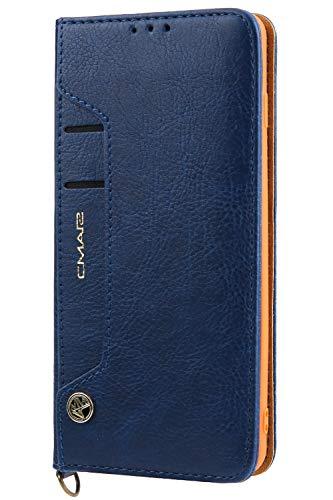 Handytasche Compatible with Samsung Galaxy S10,Kunst Leder Case Handyhülle Flip Case mit Kredit Karten Hülle Geldklammer Unsichtbar Magnet & Stand Funktion Schutzhülle,Blau