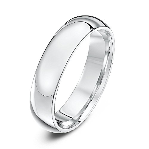 Ladies Mens Unisex Sterling Silver Wedding Ring Band. 5mm width - Plain but Classy Ring by Euphoric Gifts  - Product comes complete with Cushioned Ring Box