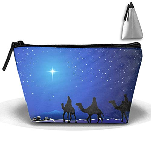 Holiday Christmas The Three Wise Men Night Stars Blue Camel Town Toiletry Bag-Portable Travel Organizer Cosmetic Make Up Bag Case for Women Men Shaving Kit for Vacation -