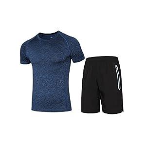 Herren Sommer Sports Suit Bekleidung Sets, Slim Fit Kurzarm Sportshirt & Loose Fit Shorts für Sports Fitness Gym Jogging Turnhallen – Blau