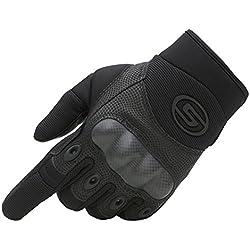 Seibertron Gants de Usine Pilote/Cuir Palm Hommes Kaki et Noire Sports de Plein air Full Finger Tactique Militaire Airsoft Chasse Cyclisme Velo Gants S/M/L/XL (XL, Noir)