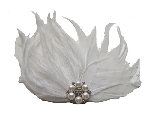 Jelinda Damen Champagner Pfau Feder Perle Braut Fascinator Haarspange Haarschmuck