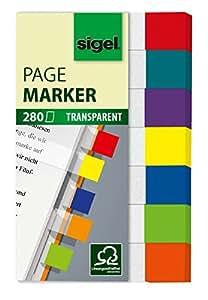 Sigel HN677 Haftmarker Transparent, 7 Farben, 280 Streifen im Format 12 x 50 mm