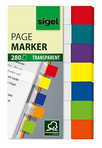 sigel-hn677-haftmarker-transparent-7-farben-280-mini-streifen-im-format-12-x-50-mm