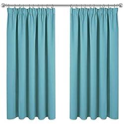 PONY DANCE Rideaux Courts de Fenêtre - (L 167 x H 137 cm Bleu Clair, 2 Pcs) Rideaux avec Galon Fronceur Isolant Lumineux Chaleur/Tissu Solid Prêt à Poser pour Maison