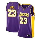 MTBD Maillot de Basket, NBA #23 Retro Lakers Lebron James,T-Shirt de Joueur de Basket-Ball, Broderies Respirantes et Résistantes à l'usure T-Shirt pour Hommes...