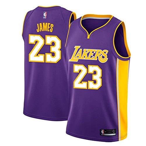 Runvian Maglia da Uomo, NBA Lebron James # 23 LA Lakers Retro Giocatore di Basket Jeysey, Ricami Traspiranti e Resistenti all'Usura, Camicia Fan da Uomo