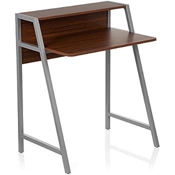 schreibtisch klein hjh office 634721 dumont holz walnuss silber computertisch mit stauraum fur kleine zimmer