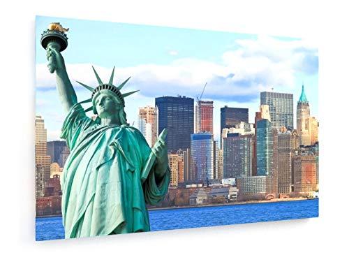 Chiramanas Jutidharabongse - Die Freiheitsstatue und Manhattan New York City Skyline - 30x20 cm - Leinwandbild auf Keilrahmen - Wand-Bild - Kunst, Gemälde, Foto, Bild auf Leinwand - Städte & Reise - Metropolitan Insel