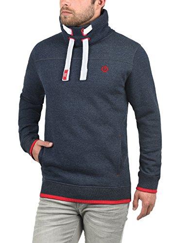 SOLID Benjamin Herren Sweatshirt Pullover Sweater mit Stehkragen aus hochwertiger Baumwollmischung Insignia Blue Melange (8991)