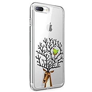 Oihxse Compatible with iPhone 6+/8+ 5.5'' Case Cover Crystal Clear Ultra Slim Lightweight Soft TPU Gel Bumper, Chic Fashion Pattern Design Transparent [Original Beauty] Shockproof Skin, Magpie Elk   1