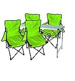 Mojawo  5tlg. Set di mobili da Campeggio in Alluminio, 120 x 60 x 58/70 cm, 1 x XXL, Tavolo da Campeggio Regolabile in Altezza con Maniglia + 4 sedie da Pesca, sedie Pieghevoli, Verde Lime