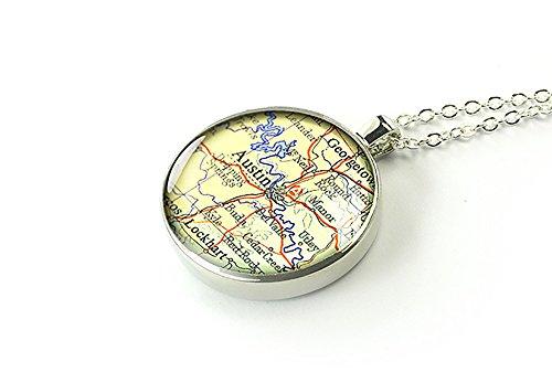 Austin 1962 mappa Texas-Collana con pendente in argento, regalo per ragazza, Rame, colore: argento, cod. M1227CP-CS