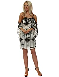 20f208b79435d My Story Abstract Print Gold Circle Cold Shoulder Dress