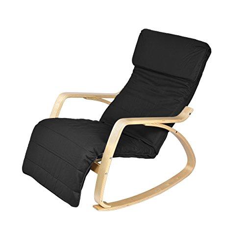 Harima - Sedia a dondolo modello Colmar Betulla, reclinabile, con rivestimento lavabile in cotone e poggiapiedi regolabile integrato, salone, infermieristico, giardino d'inverno, colore: nero