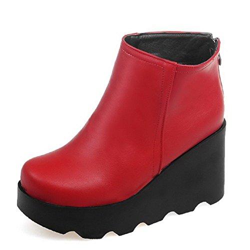 VogueZone009 Donna Punta Tonda Puro Bassa Altezza Tacco Alto Stivali con Metallo Rosso