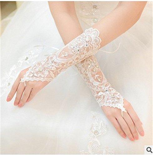 Kleid-Kostüm-Spitze-Fingerless Strass Brauthandschuhe für Hochzeit (Spitze Kostüme Handschuhe)