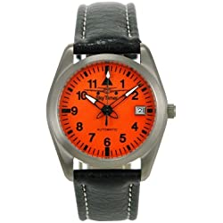 Skytimer 507526005Aviator Watch Automatic Miyota 8215Titanium Case Glass Base, 5ATM water resistant leather band