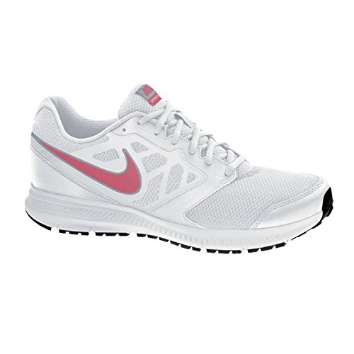 Nike Downshifter 6, Chaussures de Running Compétition Femme Blanc (White/Hyper Punch/Lite Magnet Grey)