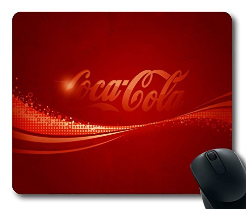 Custom Super Mouse Pad with Coca-cola Drink Soda Background Brand Logo Non-Slip Neoprene Rubber Standard Size 9 Inch(220mm) X 7 Inch(180mm) X 1/8 Inch(3mm) Desktop Mousepad Laptop Mouse pads Comfortable Computer Mouse Mat Soda Protector