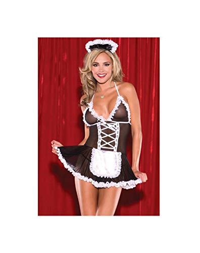 EnbaViriwuu Sexy Costumes Women Cosplay Maid Uniform Lenceria Sexy Lingerie Hot Lace Perspective Babydoll Chemise Erotic Lingerie for Women Black M