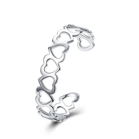 BODYA Womens Resizable Bangle Silver Color filigree love Heart linked