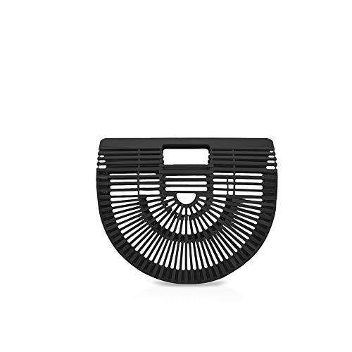 NICOLE&DORIS Neu Handtaschen für Frauen handgemachte Handtasche Top Griff Taschen Bambus Sommer Strandtasche für die Dame Schwarz