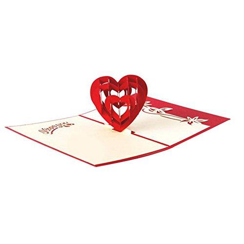 Monbedos auguri pop up 3d con rose, idea regalo per la festa della mamma o per san valentino, matrimonio inviti, carta, red love, 10*15cm