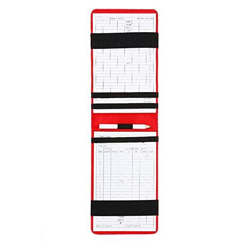 Golf Counter Karte Golf Score Counter Zubehör PU-Leder-Etui mit Scorecards und Bleistift(Rot) - Leder-counter