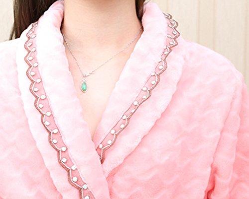 QPALZM Hiver Flanelle Chaude Dentelle Pyjama Confort pink