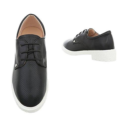 Chaussures Ital-design Pour Femme Mocassins Sacré Block Heel Avec Lacets Noirs Yl-159