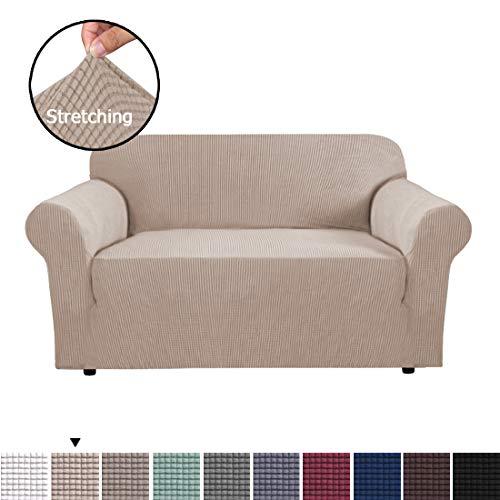 BellaHills Stretch Sofabezüge 2-Sitzer Stoff Schonbezug Protector Couch Schonbezug für 2-Kissen-Couch (2-Sitzer: 145-172 cm, Sand