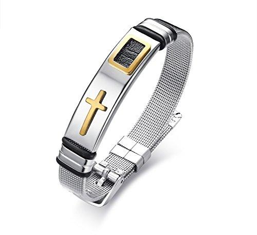 Vnox Edelstahl vergoldet Kreuz Charme Mesh Kette einstellbar Armband mit Gürtelschnalle für Männer Frauen (14k Armband-charme-armband)