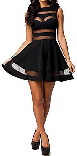 SunIfSnow Damen Cocktail Kleid, Einfarbig Gr. XL, schwarz (Print Petite Halter Top)