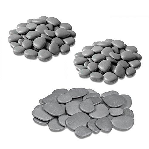 Teraplast - Piedras decorativas para jarrones, jardín y acuario en plástico reciclado - 3 paquetes, color gris
