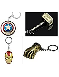 Key Era Combo Of 4 Pc Game Of Thrones, Iron Man, Thor, Captain America Shield, Hulk Hand Metal Multi Colour Keychain...