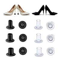 Ymwave 6 Pairs High Heel Protectors Shoe Heel Stoppers Covers Savers S/M/L Black and Clear for Weddings & Outdoor Events Protecting Shoe Heels