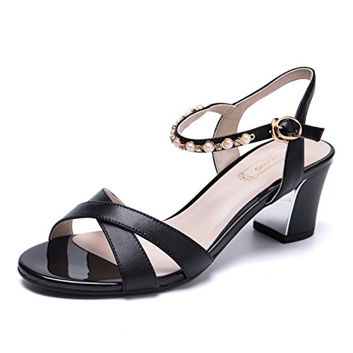 Sommer Damen Mode Sandalen komfortable High Heels Black