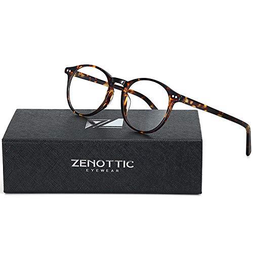 ZENOTTIC Rund Brille Klassische Nerdbrille Ohne Sehstärke Brillengestelle Damen Brillenfassung Fake Brille Ohne Stärke für Herren