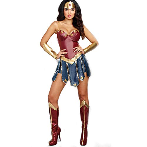 Superfrau Kostüm - DOBESTES Wonderwoman Justice League Cos GöTtliche Superfrau KostüM Phantasie Ball Diana Spiel Uniform Vierteiliges Set
