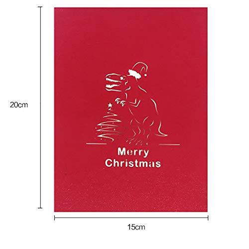 Auguri Di Natale Yoga.Hacoly Cartolina D Auguri Stereo 3d Dinosauro Di Natale Biglietto Carta Regalo Di Compleanno Biglietto Di Auguri In Bianco A Mano Pop Up 3d Regalo Di