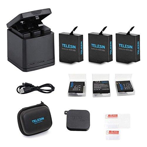 TELESIN Chargeur de batterie triple Set Chargeur + Batteries avec câble USB Type-C Kit d'accessoires pour GoPro Hero 6 / Hero 5 (Kit de batterie de chargeur 6 en 1)