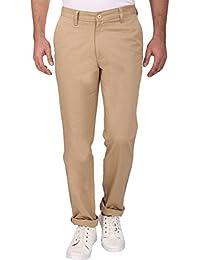 Linenlove Men's Regular Fit Dobby, Cream 100% Cotton Formal Trouser For Men